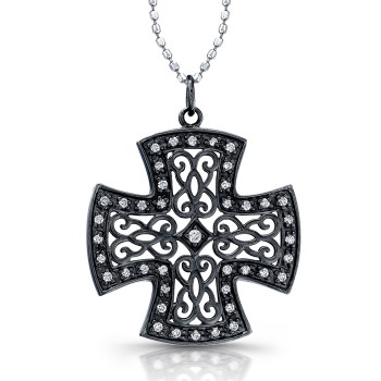 Diamond Vintage Design Cross With Black Rhodium .15CTW