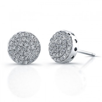 14k White Gold Micro Pave Diamond Circle Earrings