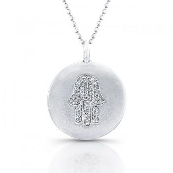 Silver Diamond Disk Hamsa Pendant