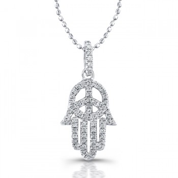 Silver Diamond Peace Sign-Hamsa Pendant