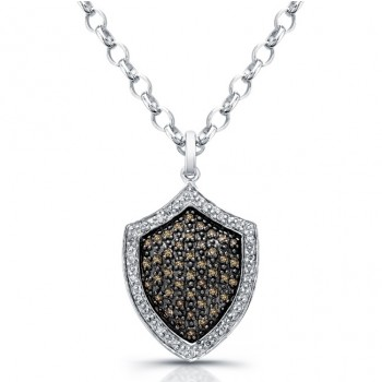 14k White Gold Pave Brown Diamond Shield Pendant