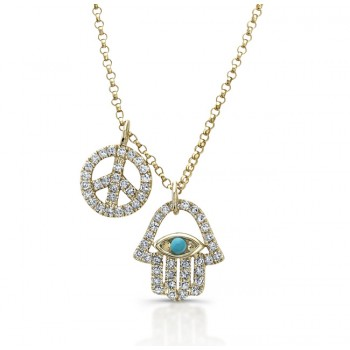 14k Yellow Gold Diamond Turquoise Hamsa Peace Necklace