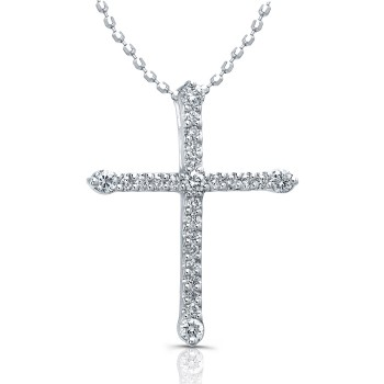 1/4CTW White Gold  Modern Diamond Cross Necklace