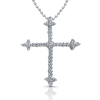 14k White Gold Elegant Diamond Cross 1/5CTW