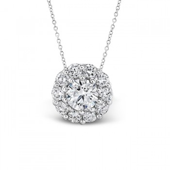 WHITE GOLD DIAMOND HALO PENDANT 3/4CT