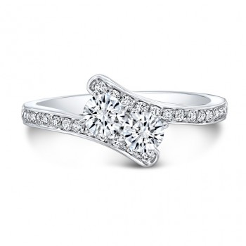 14K White Gold Two Stone Ring
