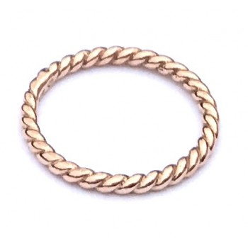 14K rose gold twisted rope band