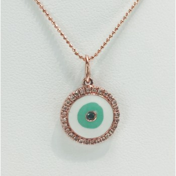 Rose Gold Enamel Evil Eye Necklace-Blue Diamond
