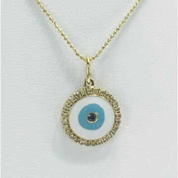 Yellow Gold Enamel Evil Eye Necklace-Blue Diamond