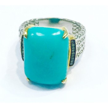 13 Carat Turquoise Diamond Ring-CM20103