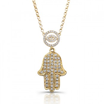 Hamsa necklace diamond hamsa necklace coby madison 14k yellow gold diamond evil eye and hamsa necklace mozeypictures Images
