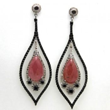 Pink Rose Cut Sapphire Earrings - Vintage Design