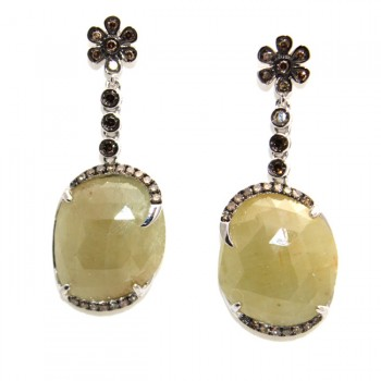 Amber Rose Cut Sapphire Drop Earrings