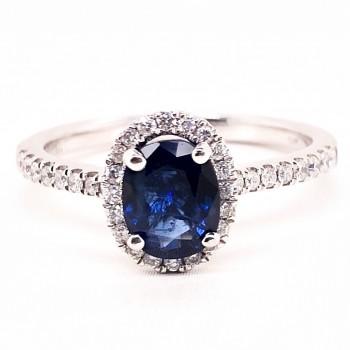 14K WG halo sapphire diamond engagement ring