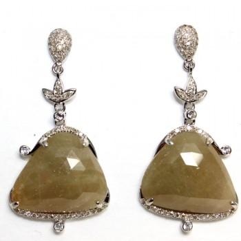 Antique Design Golden Rose Cut Diamond Earrings 33.28cts
