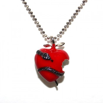 Red Enamel-Snake Heart