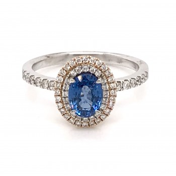 18K Oval WRG Double Halo Saph Dia Ring
