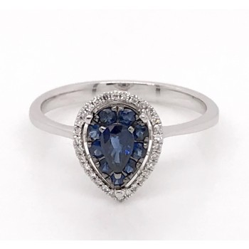 Pear Shape Sapphire Cluster Ring