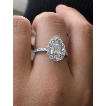 1.09ct pear shape halo engagement ring