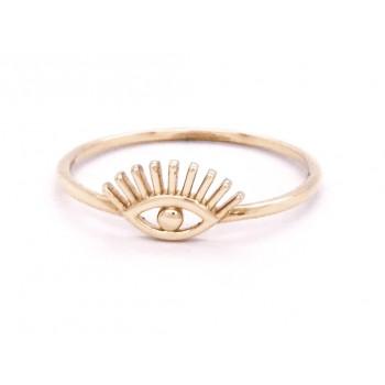14k Yellow Gold Eye Ring