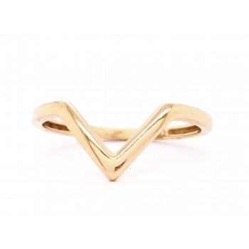 14k Yellow Gold V Ring