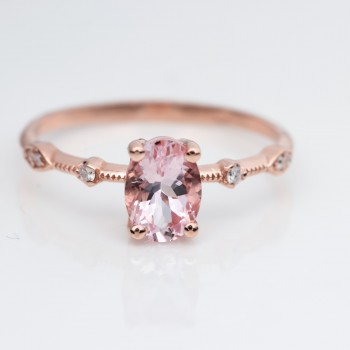 Morganite and Petite Diamond Milgrain 14k Rose Gold Engagement ring.