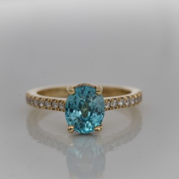 Custom Made Hidden Halo Ring With 2.50ct Oval Blue Zircon Center Stone