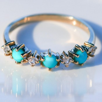 Turquoise and  white  Zircon ring