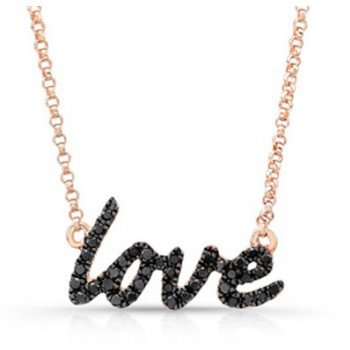 14K Rose Cursive Love Black Diamond Necklace