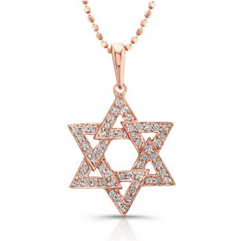 14Kt Rose Gold Star Of David Pendant-Micro Pave