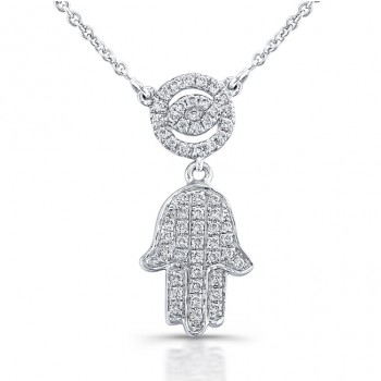 Diamond Evil Eye and Hamsa Necklace