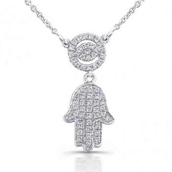 Diamond Evil Eye and Hamsa Necklace