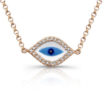 Rose Gold Diamond Evil Eye Enamel Necklace