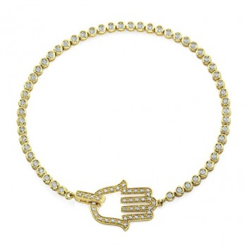 Hamsa Diamond Tennis Bracelet - 14kt Yellow Gold