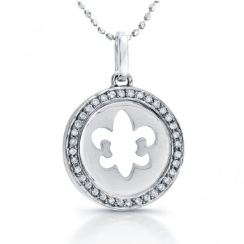 14k White Gold Diamond Disc Fleur De Lys Necklace
