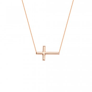Rose Gold Side Ways Cross Necklace