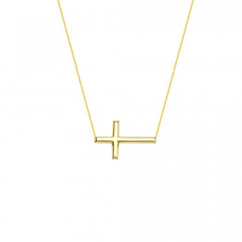 Yellow Gold Side Ways Cross