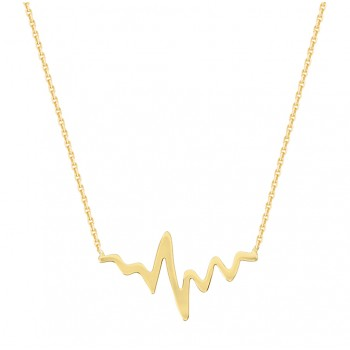 Yellow Gold Heartbeat Necklace
