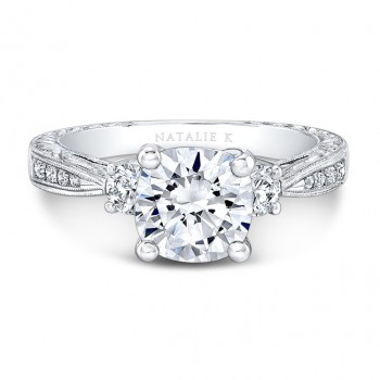 18K White Gold Tapered Milgrain Shank Diamond Engagement Ring
