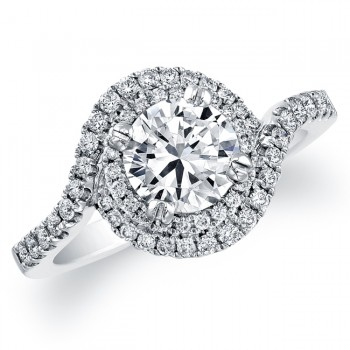 Delicate Swirl Diamond Engagement Ring