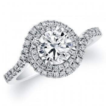 Delicate Swirl Diamond Engagement Ring