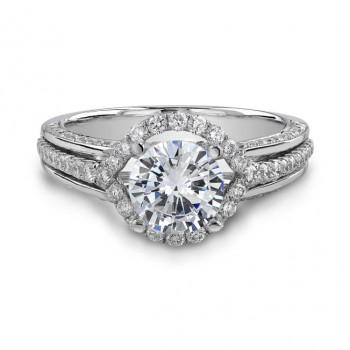 14k White Gold Halo Diamond Engagement Ring NK18775-W