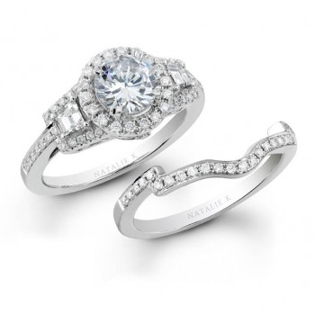 18k White Gold Three Stone Halo Baguette Diamond Bridal Ring Set NK19516WE-W