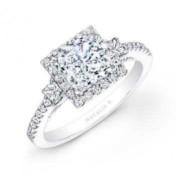 14k White Gold Square Halo Princess Cut Diamond Engagement Ring NK20305-W