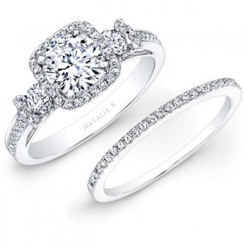 14k White Gold Square Halo White Diamond Bridal Set