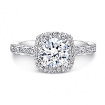 Diamond Pave Halo Engagement Ring