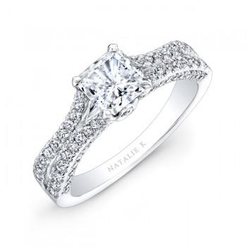 18k White Gold Split Shank Princess Cut Pave Diamond Engagement Ring NK28057-18W