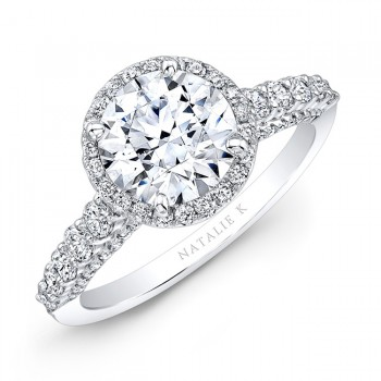 18k White Gold Elongated Shank Diamond Halo Engagement Ring