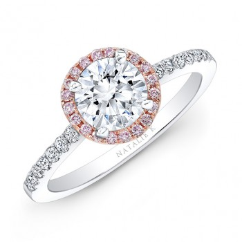 18k White and Rose Gold Pink and White Diamond Halo Engagement Ring
