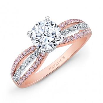 18k Rose and White Gold Pink and White Diamond Split-Shank Diamond Engagement Ring